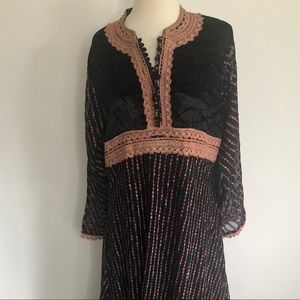 Black Maxi Indian Lace Embroidered Dress Large NWT